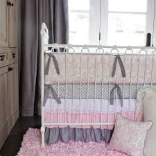 bedroom design chic cushions and pink feather rug steel baby girl crib bedding wallpaper