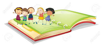 ilration of kids and book on a white background stock vector 14891701