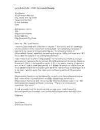 Cover Letter Internship Investment Banking Cover Letter