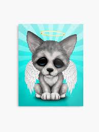 cute baby wolf angel metal print