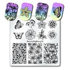 <b>BeautyBigBang 6*6cm</b> Square <b>Nail Plates</b> Flower Nail Art Stamp ...