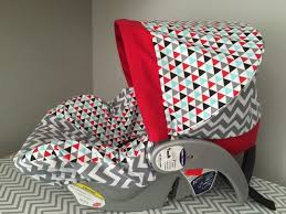 remix chevron triangles gray red aqua baby infant car seat cover