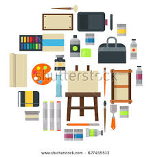 creative furniture icons set flat design. painting art tools palette icon set flat vector illustration details stationery creative paint equipment furniture icons design u