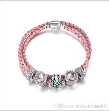 925 sterling silver pink flower charm bead fit european pandora bracelets for women charm double layer genuine leather chain fashion jewelry whole