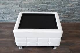 white leather tufted ottoman coffee table