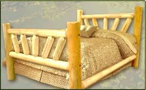 Pine Log Queen Bed Frame Fascinating Knotty Sleigh Size Wooden ...