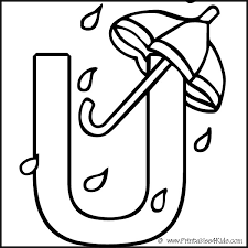 Small Picture Alphabet Coloring Page Letter U Umbrella Printables for Kids