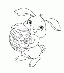 Cute Easter Bunny Coloring Page For
