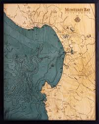 Tampa Bay Depth Chart 2018 Monterey Bay 3 D Nautical Wood Chart 24 5 X 31