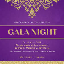 dinner template violet gala dinner invitation template