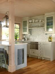 kitchen coastal cottage kitchen 5bh semi flush ceiling lights portable island breakfast nook corner bench beach