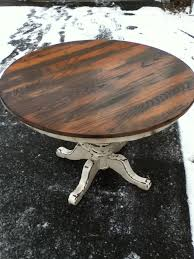 amazing brown round rustic wooden distressed round dining table stained ideas