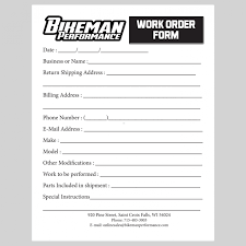 Work Order Form