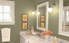 green wall paintOlive Green Wall Color With Metal Wall Sconces For Small Bathroom