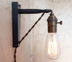 transparant glass plug in wall lighting unique bronze cable right here brown handmade socket copper natural