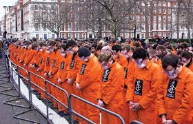 guantanamo bay detention camp united states detention facility  protesters outside the american embassy in london demanding the closure of the u s detention camp at