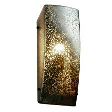 justice design group fusion dark bronze one light rectangular finial wall sconce with mercury glass