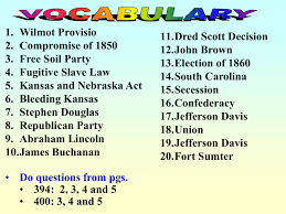 Jefferson Davis Vs Abraham Lincoln Chart Kansas Nebraska Act And Dred Scott Decision