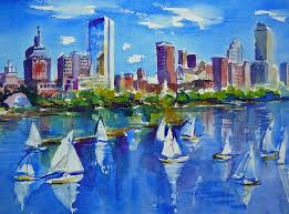 boston painting boston skyline by diane bell