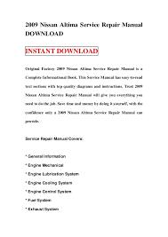 2009 nissan altima service repair manual 2009 nissan altima service repair manual instant original factory 2009 nissan altima service repair manual
