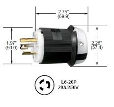 hubbell hbl2321 l6 20p twist lock® plug rated for 20a 250v hubbell l6 20p twist lock® male plug rated for 20a 250v