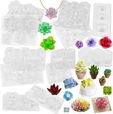 FUNSHOWCASE Succulent <b>Flower Pot Resin Silicone</b> Molds Set of ...