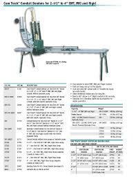 Greenlee 881 Table Bender Chart Greenlee 881 Instruction Manual