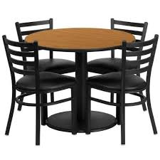 flash furniture 36 inch round natural laminate table set w 4 ladder back metal from beyond s at com
