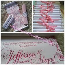Pink Scroll Wedding Invitation Thermal Embossed Wedding Invitations