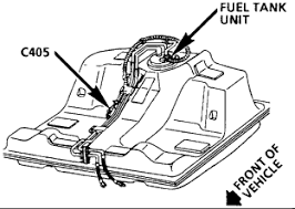 connector view for the fuel pump harness sending unit terminal f is a gray wire this is fuel pump power feed terminal c is a purple wire this is the fuel level sending unit signal wire