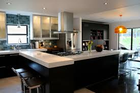 fabulous contemporary concrete floors kitchen features long island with white countertops with acrylic cabinets with glass