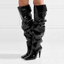 patent leather pleated women full boots black knee high long boots patchwork design square toe autumn winter las shoes shoes womens shoes from
