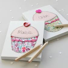 personalised cupcake embroidered notepad