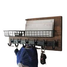 modern rustic entryway shelf with mail