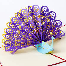 Us 20 75 17 Off 3d Pop Up Greeting Card Peacock Birthday Easter Anniversary Mothers Day Valentines Day Thanks Invitation Card Gift Customs Logo In