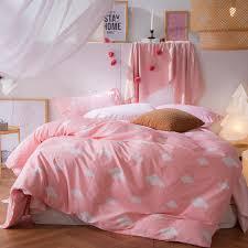 aoguhome store 4pcs sweet pink duvet cover 100% cotton twin double ... & aoguhome store 4pcs sweet pink duvet cover 100% cotton twin double queen  bedding set cloud Adamdwight.com