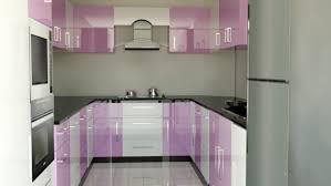 amusing white purple colors acrylic kitchen cabinets come with mist gray wall paint color and black color granite countertops and u shape modular kitchen