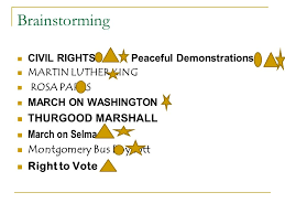 research a process civil rights defining stage brainstorming pick  3 brainstorming civil rightspeaceful demonstrations martin luther king rosa parks on washington thurgood marshall on selma montgomery bus