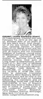 Obituary for Leslie Barbara GRANT (Aged 66) - Newspapers.com