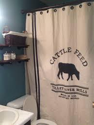 Shower Curtains Cabin Decor Diy Grain Sack Shower Curtain And Rustic Industrial Shelves