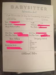 Babysitter Information Sheets Babysitter Information Sheet Rehana Du Jour