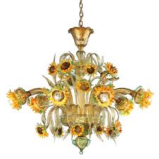 murano glass chandelier with sunflower shades