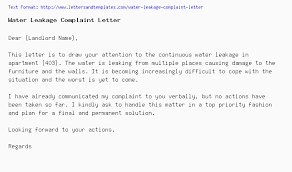 complaint letter to neighbor water leakage complaint letter
