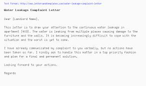 Complaints Letter Format Water Leakage Complaint Letter