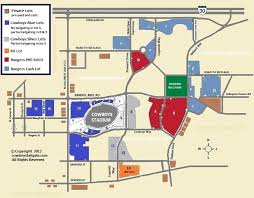Cowboys Stadium Chart Cowboys Stadium Parking And Tailgating Map Rangers Ballpark