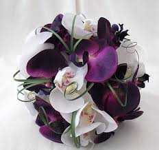 WEDDING FLOWERS - BRIDE OR BRIDESMAIDS POSY BOUQUET IN PURPLE & WHITE  ORCHIDS