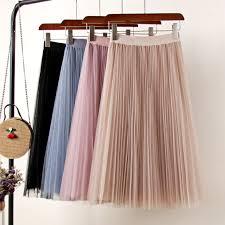 Tulle Skirts Womens Midi Pleated Skirt Black Pink Tulle Skirt Women 2019 Spring Summer Korean Elastic High Waist Mesh Tutu Skirt