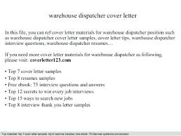 Sample Dispatcher Resume Warehouse Dispatcher Cover Letter Sample
