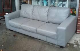 sold ikea skogaby gray leather sofa 190