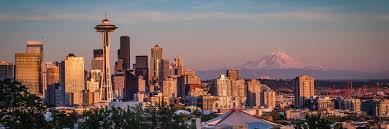 Seattle Cityscape Seattle Skyline At Sunset Panoramic Photo Photograph Cool Wall Decor Art Print Poster 36x12